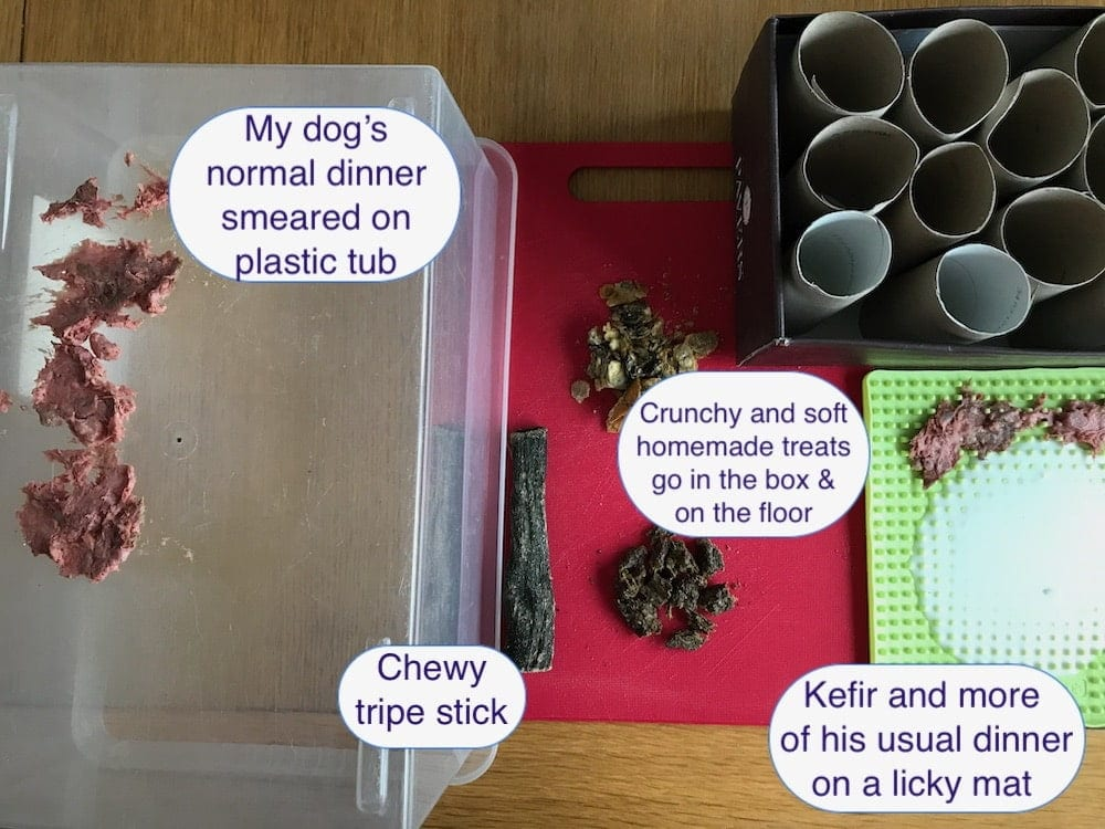 Example of food used for Free Work enrichment for dogs
