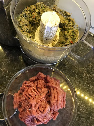 blend all the ingredients together except for the minced meat