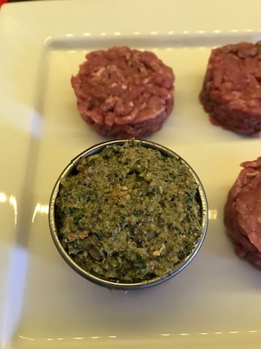 put the cookie cutter on top of a burger and fill it with the blended ingredients