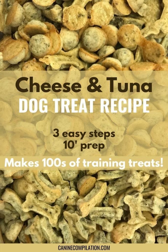 Cheese & tuna dog treat recipe, 3 easy steps, 10' prep, makes 100s of training treats