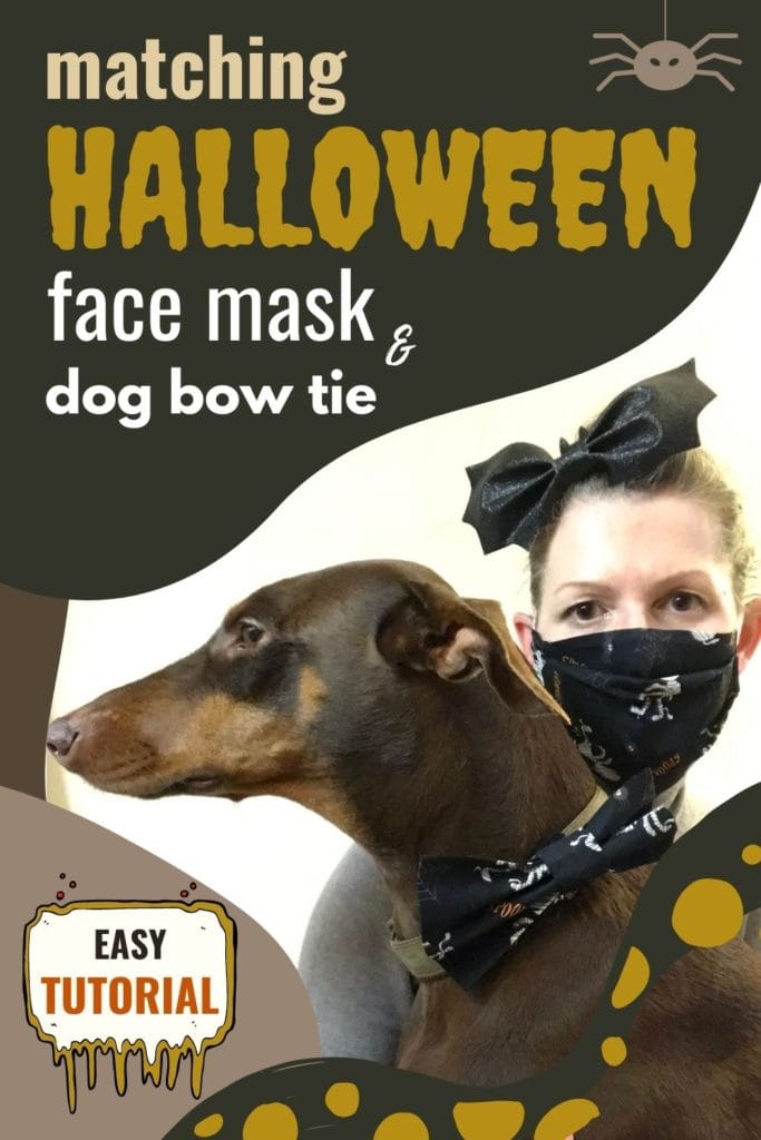 Matching Halloween face mask and dog bow tie - easy tutorial