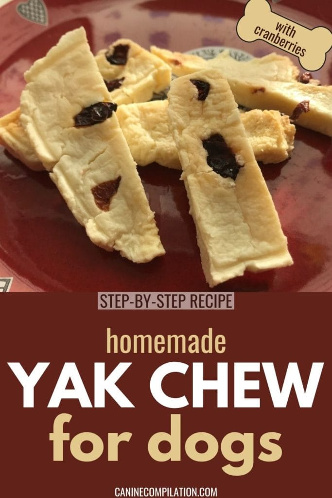 Homemade Yak Chew with cranberries for dogs - Step-by-step recipe
