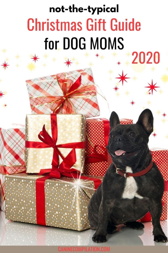 image of dog and gifts with text Not-so-typical Christmas gift guide for dog moms 2020