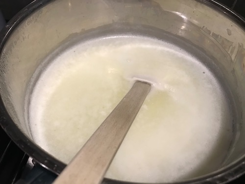 Add whatever you're using to curdle the milk