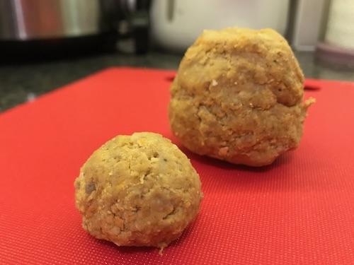 dog sponge cake pressed into ball shapes