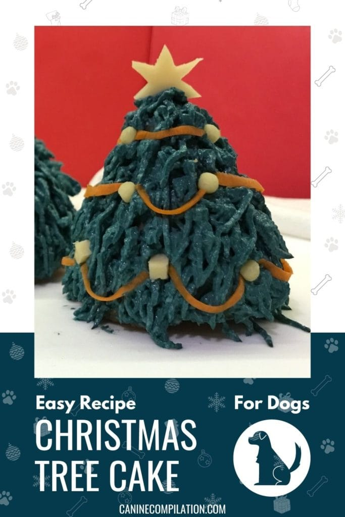 Image of a Christmas tree cake for dogs and text  Christmas tree cake for dogs - easy recipe