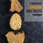 photo of shaped dog treat and text - 3 ingredient Easter dog treats recipe