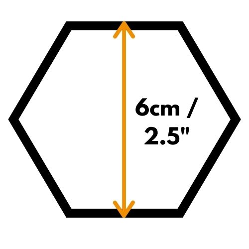 a hexagon with measurement 6cm across