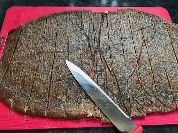 baked quinoa crisp cut into strips