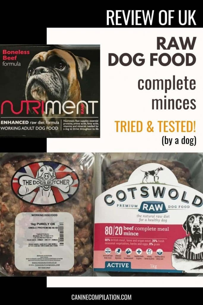 review of raw dog food suppliers Cotswold, Dog's Butcher and Nutriment